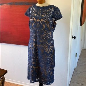 Beautiful blue lace dress with cream lining